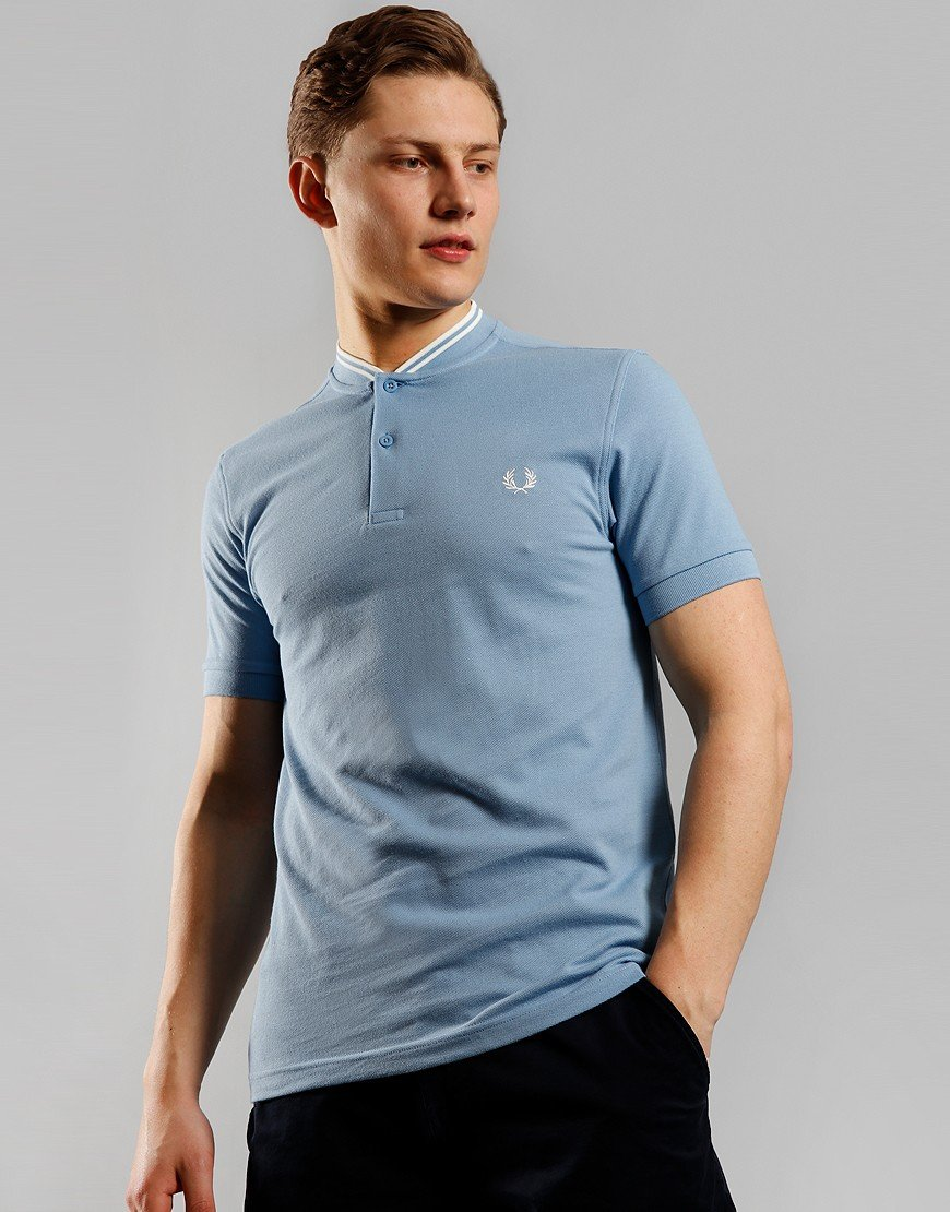 Fred Perry Bomber Collar Piqué Polo Shirt Sky