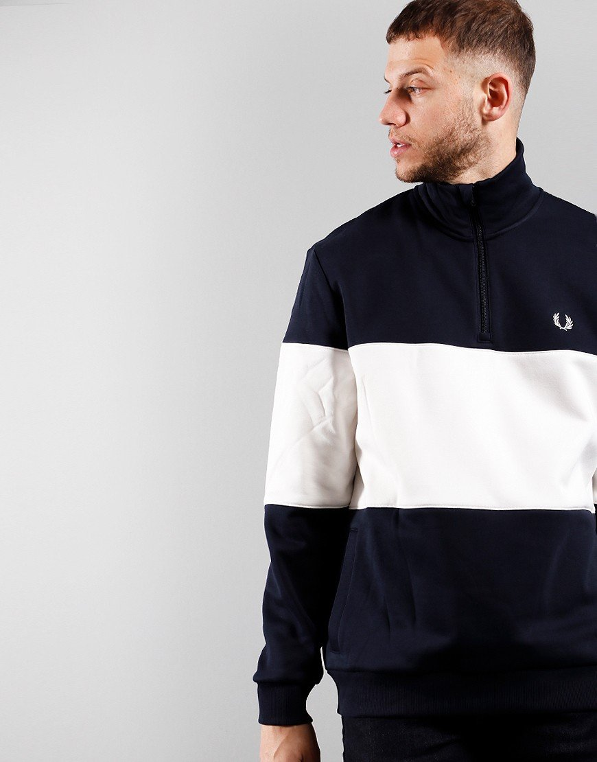 Fred Perry Colour block Half Zip Sweat Navy