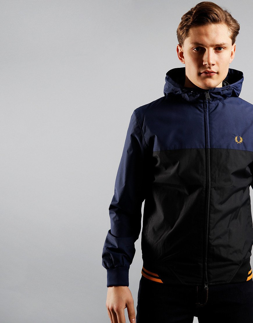 Fred Perry Colour Block Hooded Brentham Jacket Carbon Blue