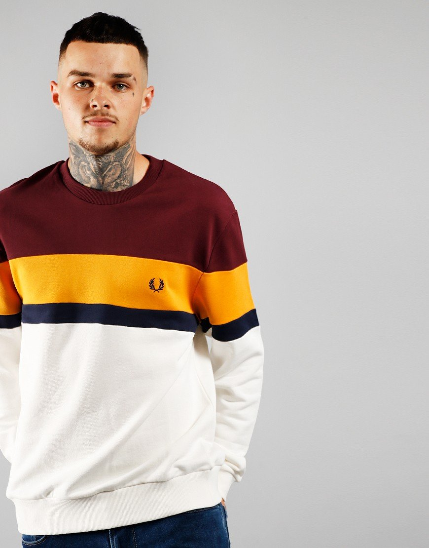 Fred Perry Colour Block Sweat Shirt Mahogany