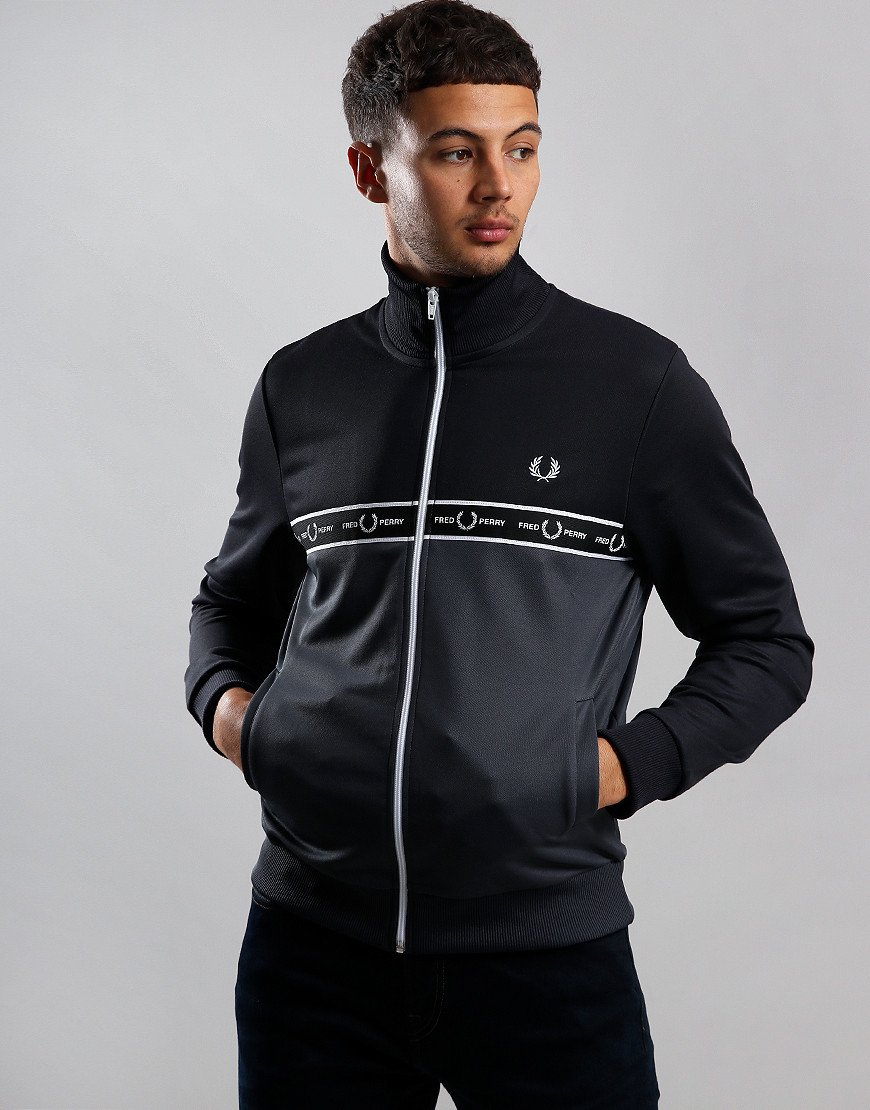 Fred Perry Taped Chest Colour Block Track Top Charcoal