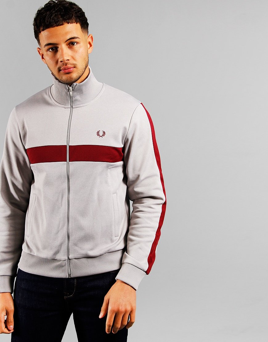 Fred Perry Contrast Panel Track Top Marl Grey