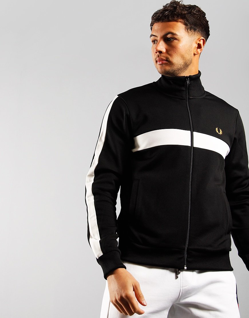 Fred Perry Contrast Panel Track Top Black