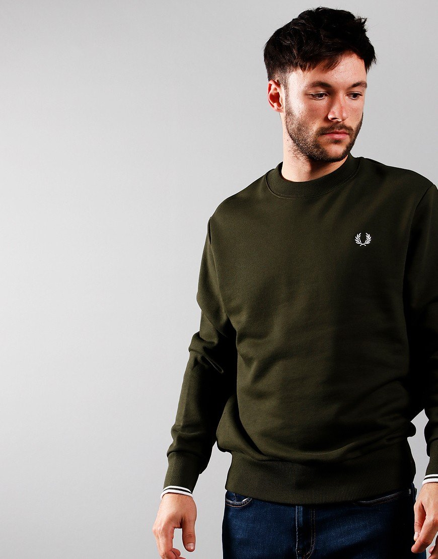 Fred Perry Crew Sweat Hunting Green