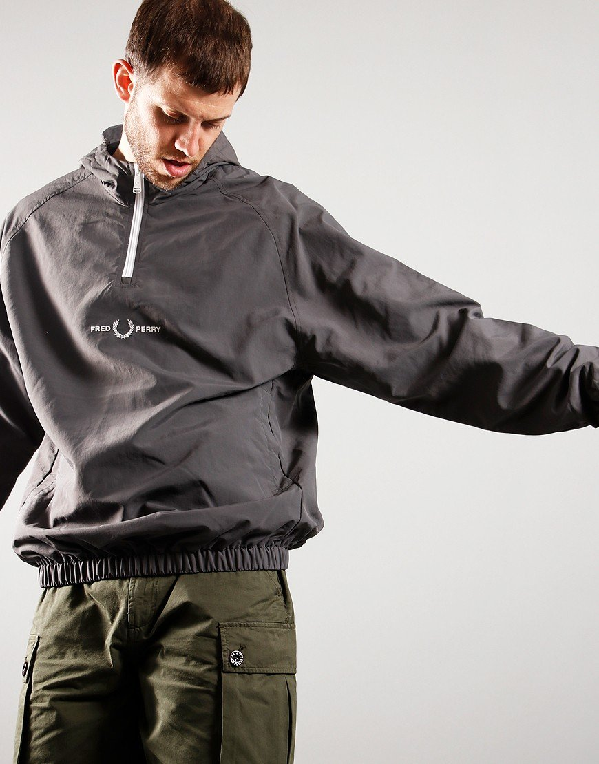 Fred Perry Embroidered 1/2 Zip Jacket Gun Metal