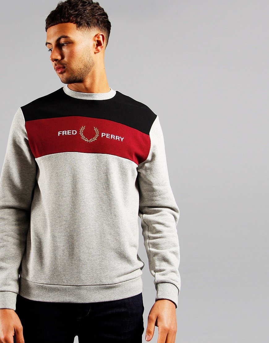 Fred Perry Embroidered Panel Sweat Marl Grey