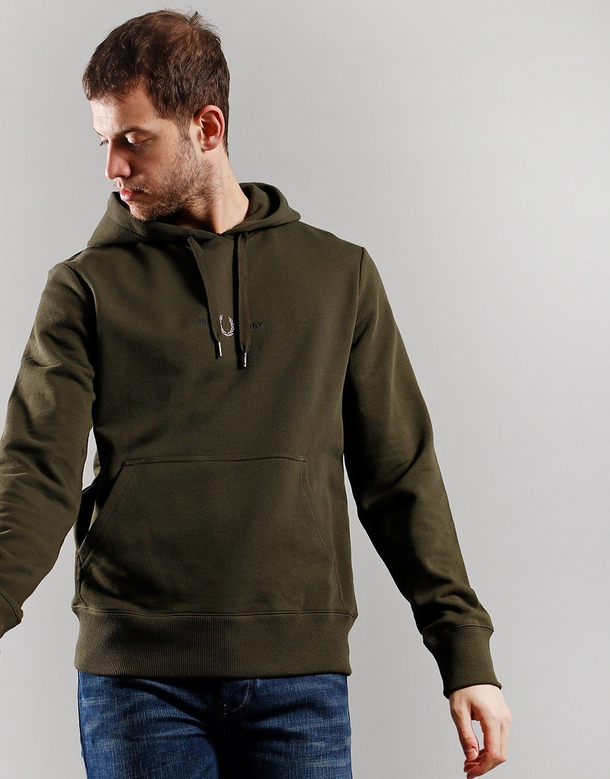 Fred Perry Embroidered Hooded Sweat Hunting Green