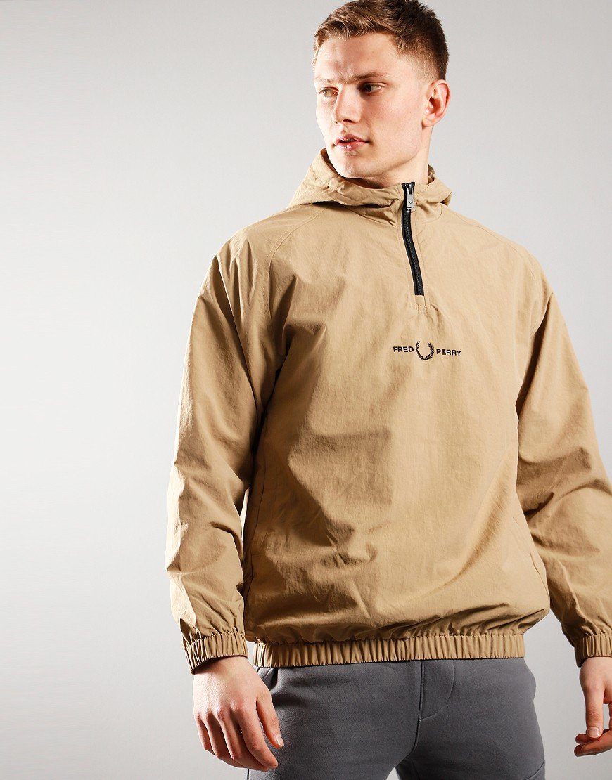 Fred Perry Embroidered 1/2 Zip Jacket Warm Stone
