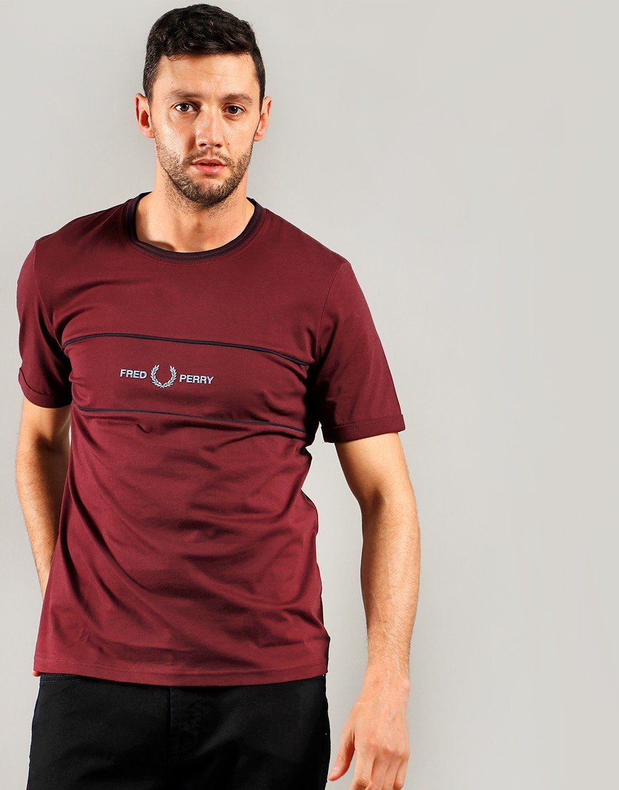 Fred Perry Embroidered Panel T-Shirt Mahogany