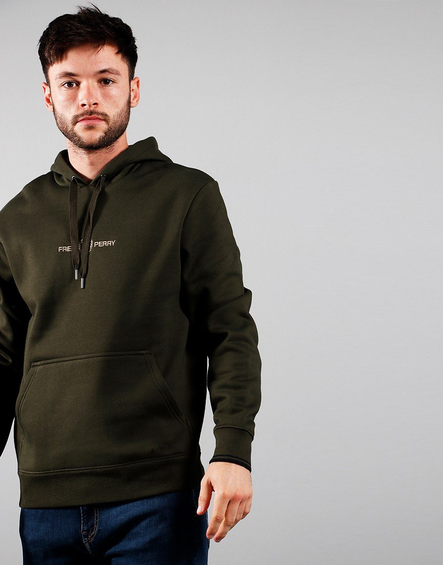 Fred Perry Graphic Hoodie Hunting Green