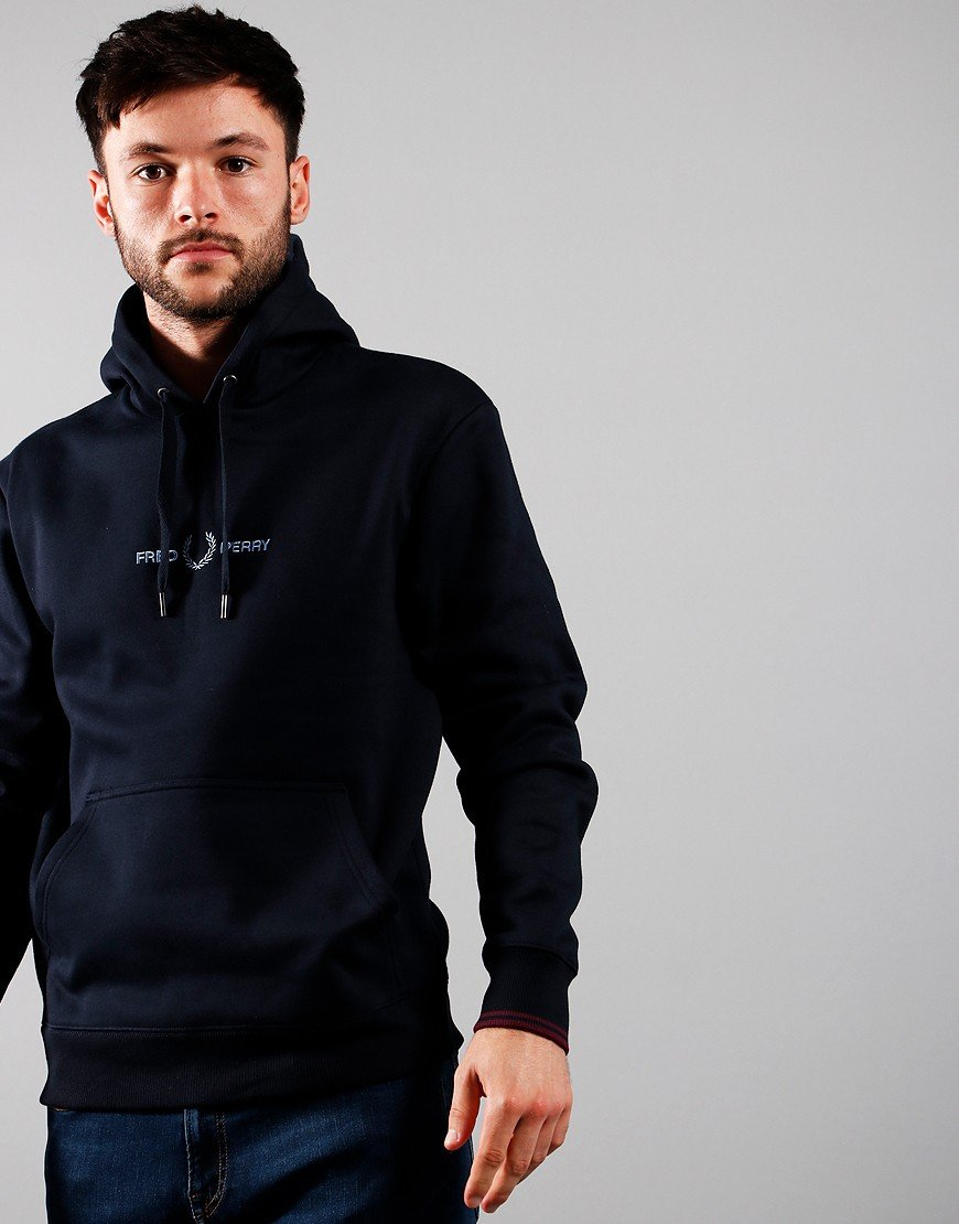 Fred Perry Graphic Hoodie Navy