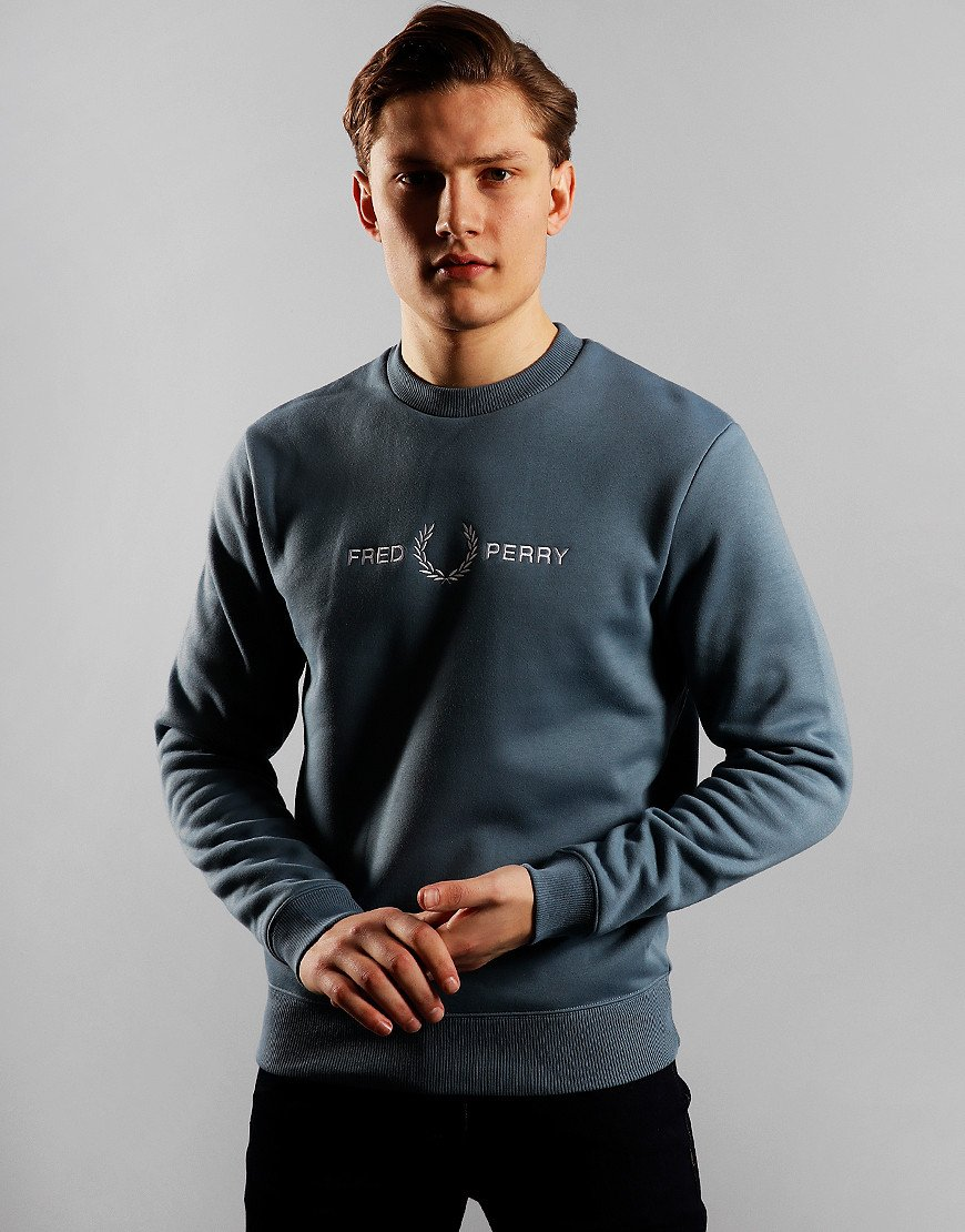 Fred Perry Graphic Print Sweat Blue Slate