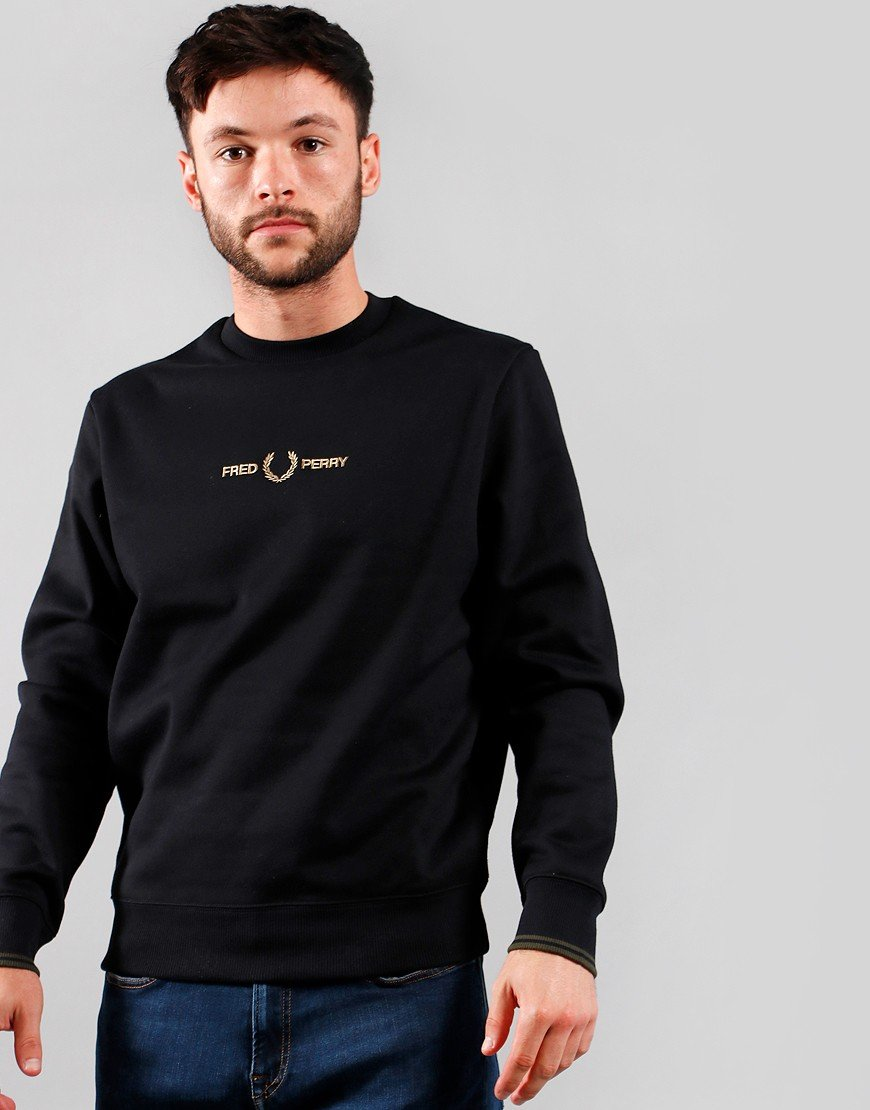 Fred Perry Graphic Tipped Cuff Sweat Black
