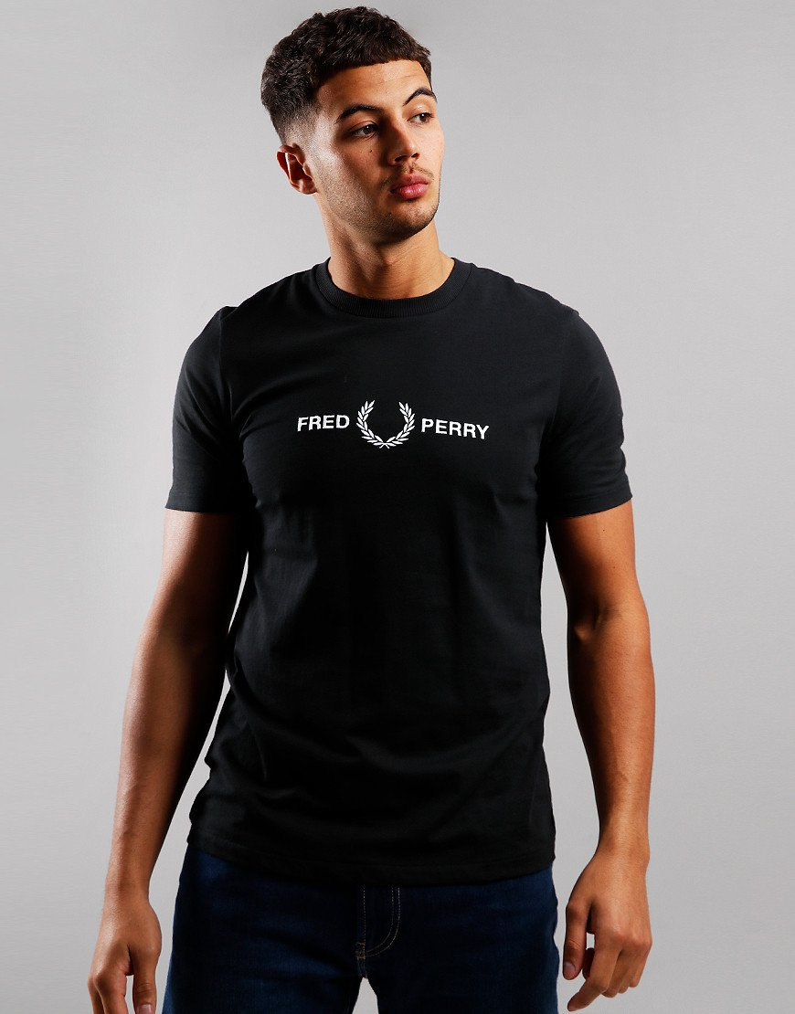 Fred Perry Graphic Print T-Shirt Black