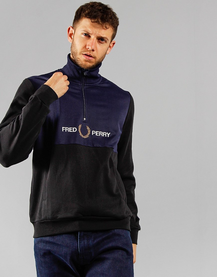 Fred Perry Embroidered Half Zip Track Jacket Black