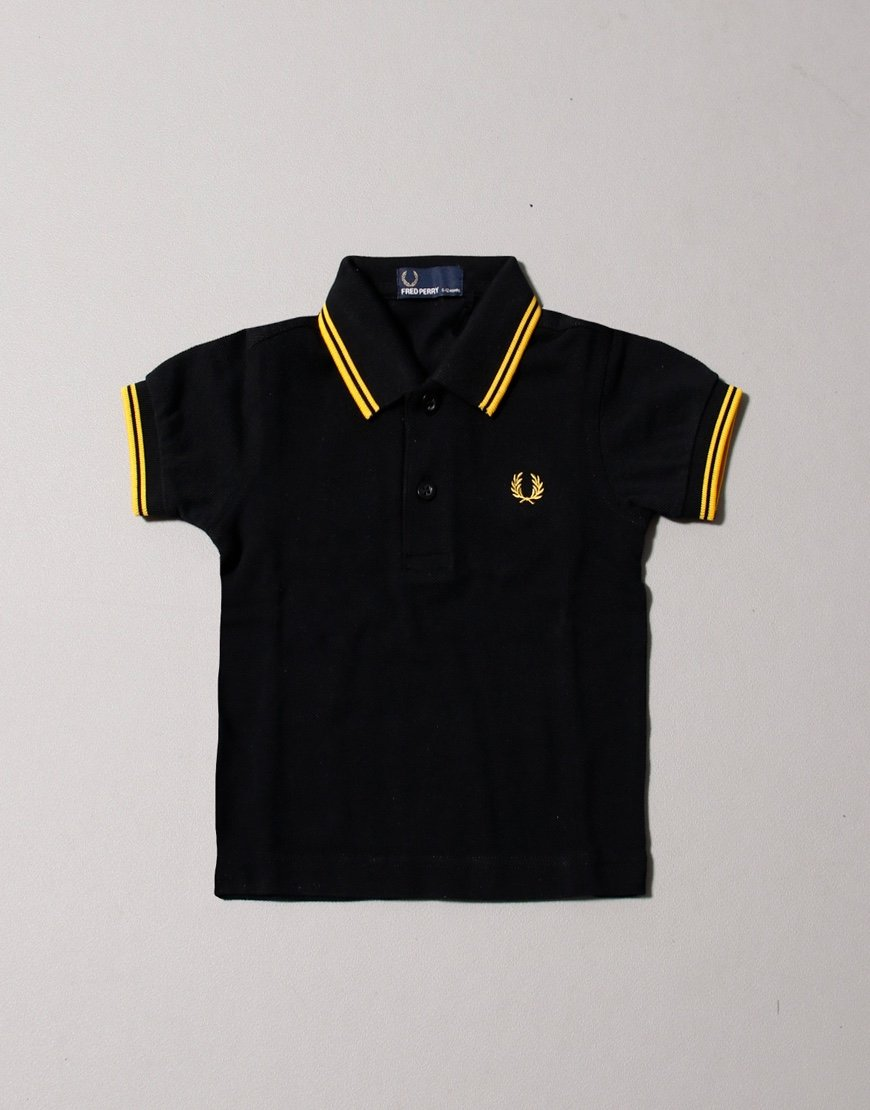 Fred Perry Baby Polo Shirt Black/Yellow
