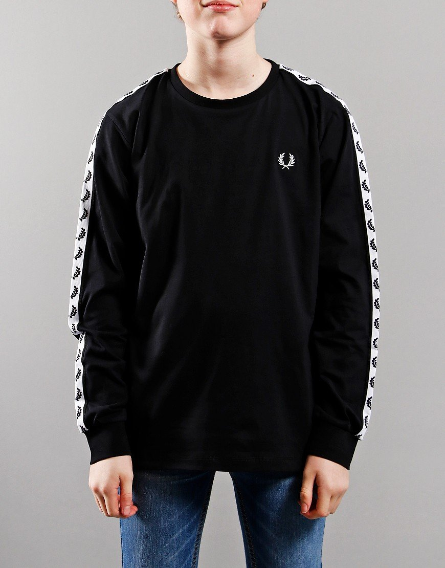 Fred Perry Kids Taped Long Sleeve T-Shirt Black