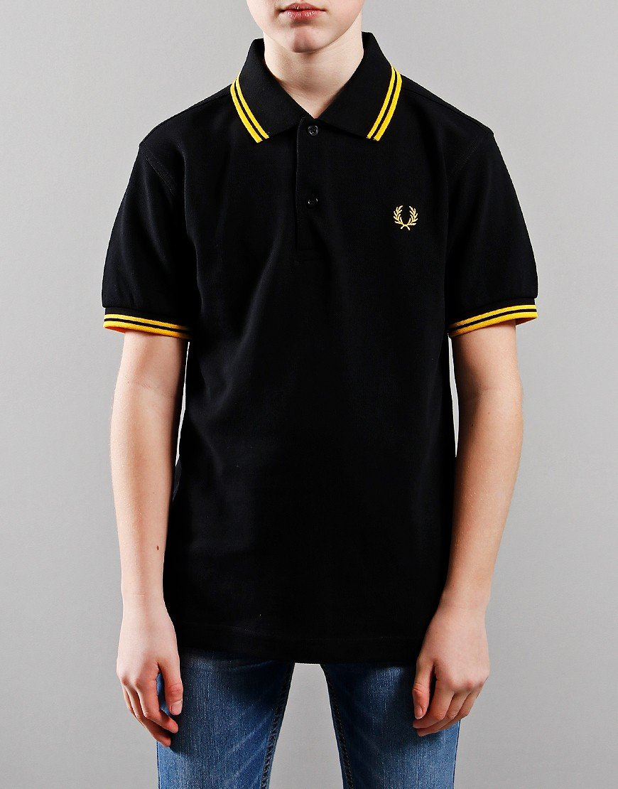 Fred Perry Kids Twin Tip Polo Shirt Black/New Yellow