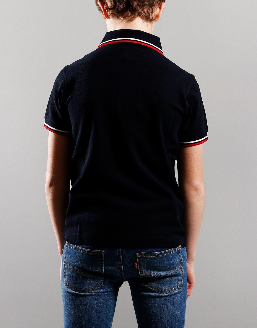 Fred Perry Kids Twin Tip Polo Shirt Navy/Snow White