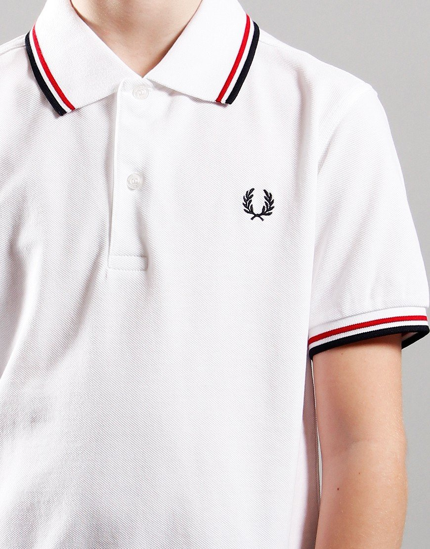 Fred Perry Kids Twin Tip Polo Shirt White/Bright Red/Navy