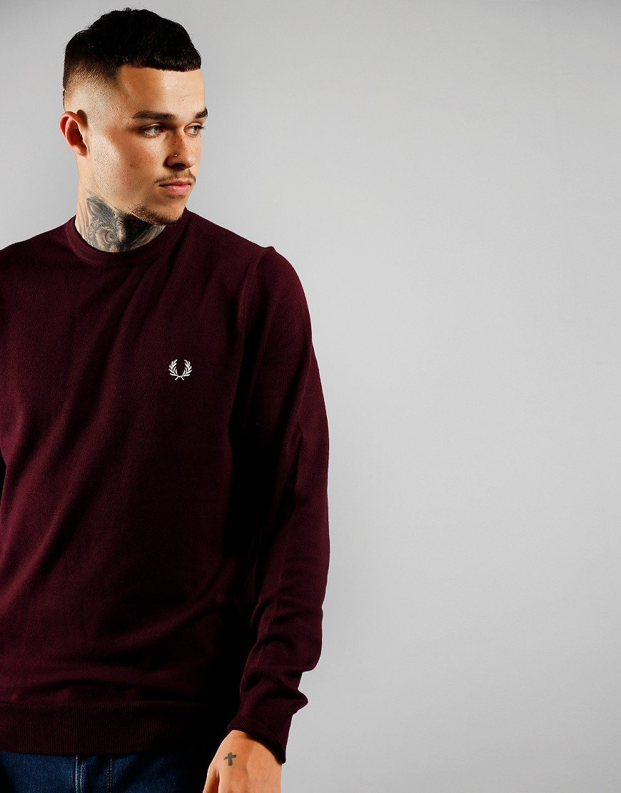 Fred Perry Crew Jumper Rich Mahogany