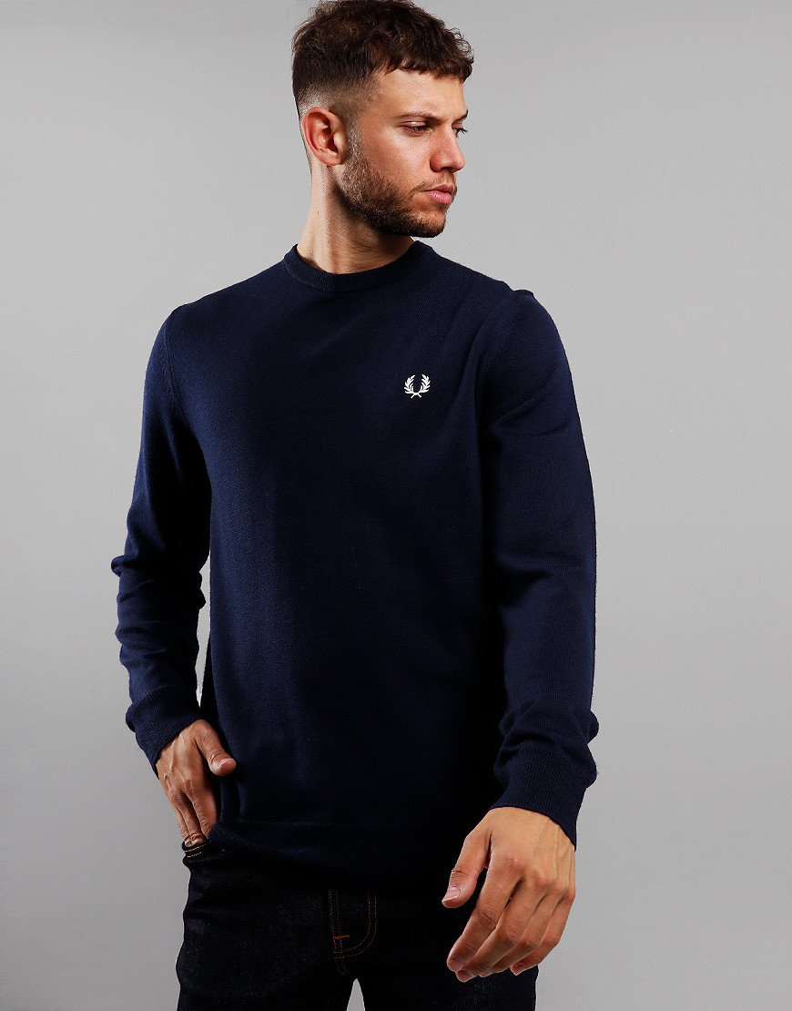 Fred Perry Merino Crew Neck Knit Dark Carbon