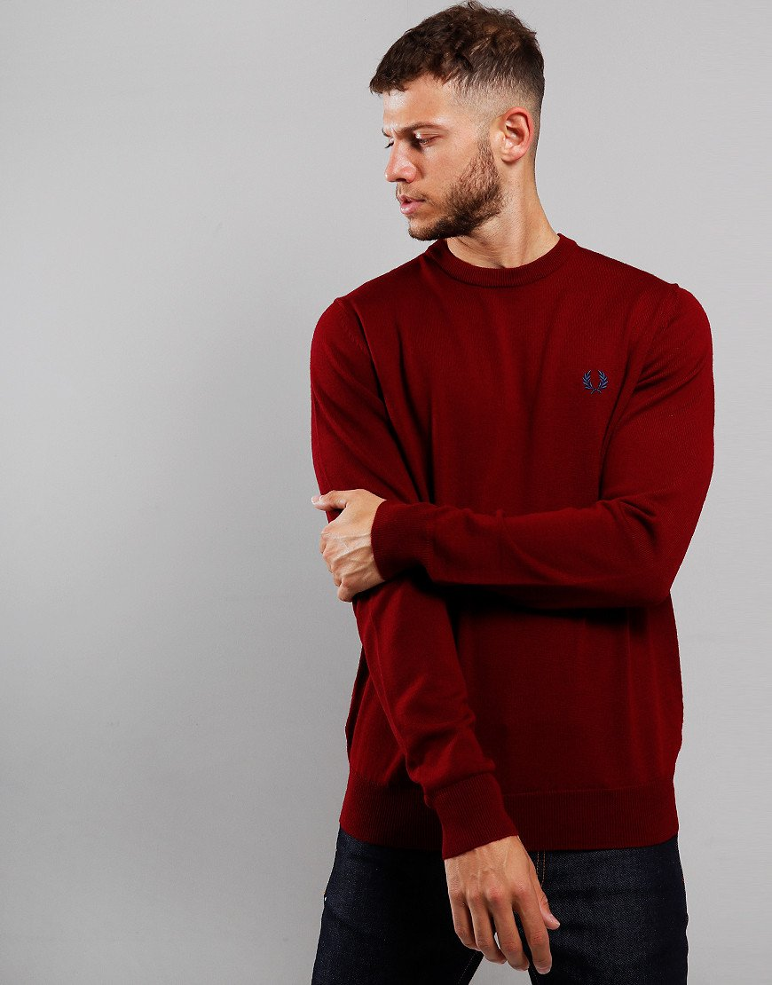 Fred Perry Merino Crew Neck Knit Dark Red