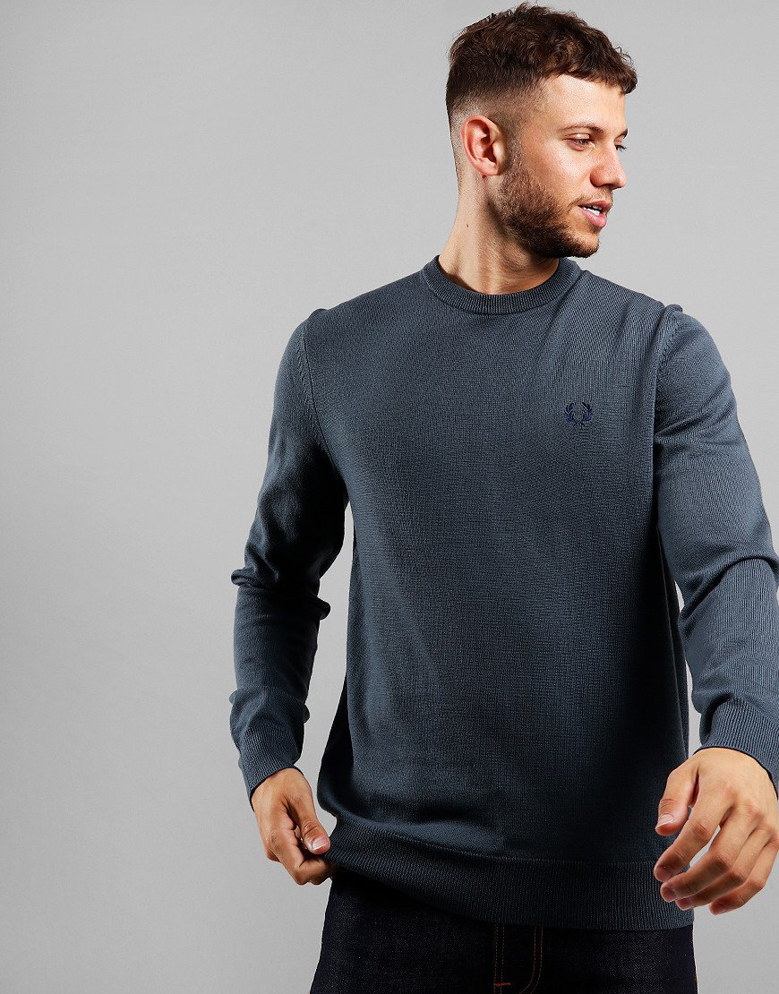 Fred Perry Merino Crew Neck Knit Gunmetal