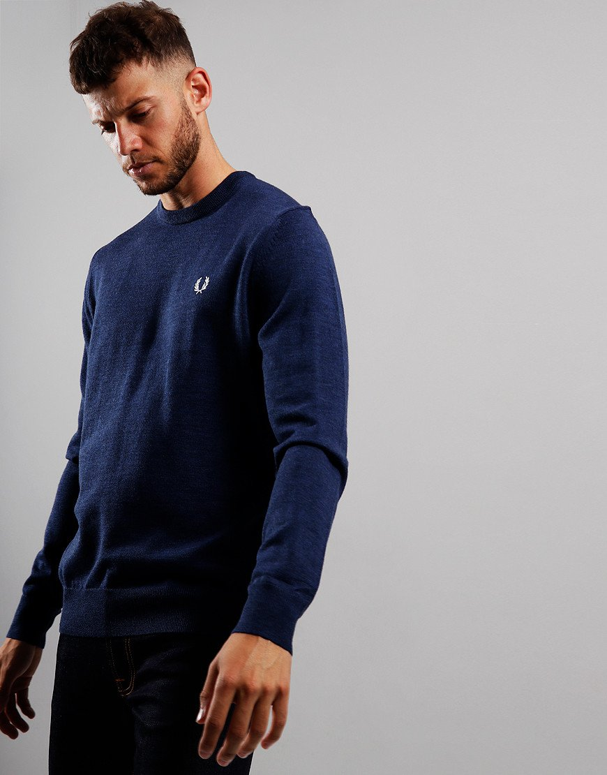 Fred Perry Merino Crew Neck Knit Phantom Marl