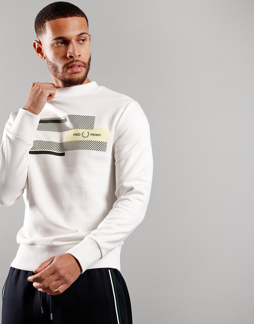 Fred Perry Mixed Graphic Sweat Snow White