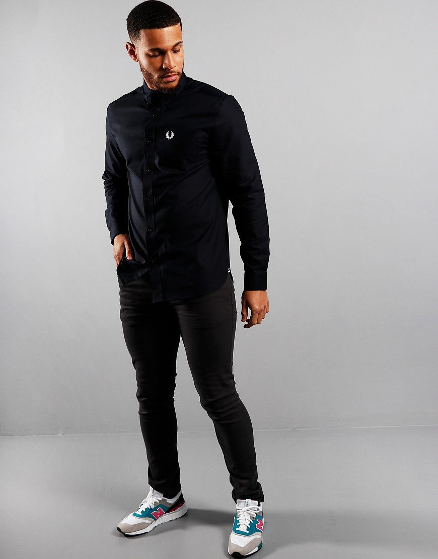 Fred Perry Oxford Long Sleeve Shirt Navy