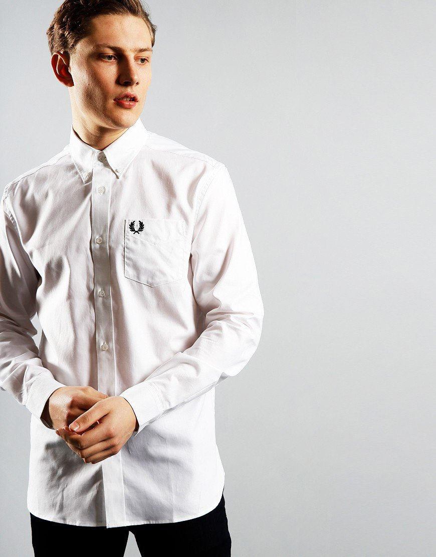 Fred Perry Oxford Long Sleeve Shirt White