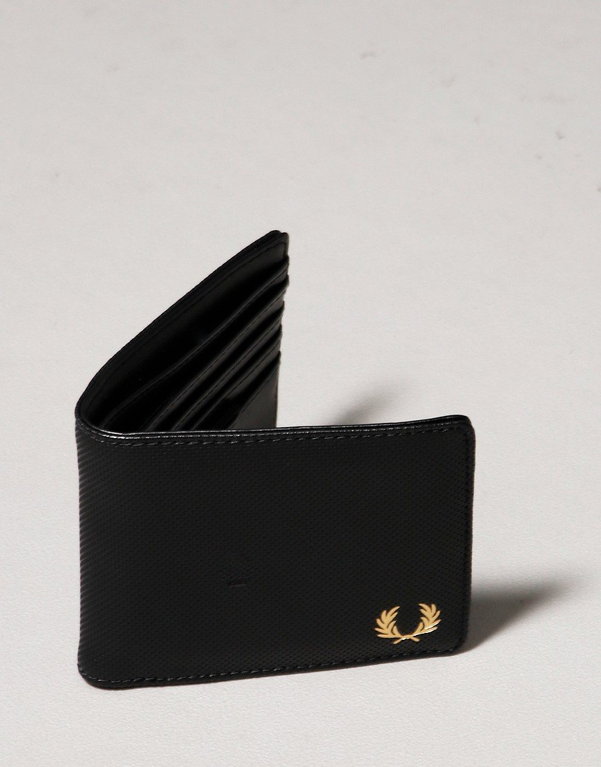 Fred Perry Pique Texture Billfold Wallet Black
