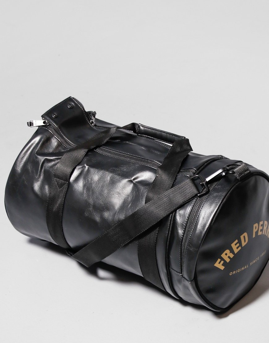 Fred Perry Tonal PU Barrel Bag Black