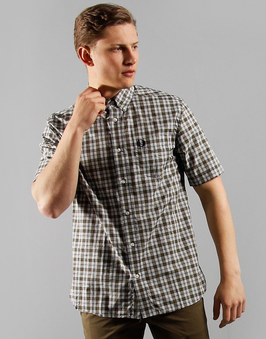 Fred Perry Small Check Shirt Military Green