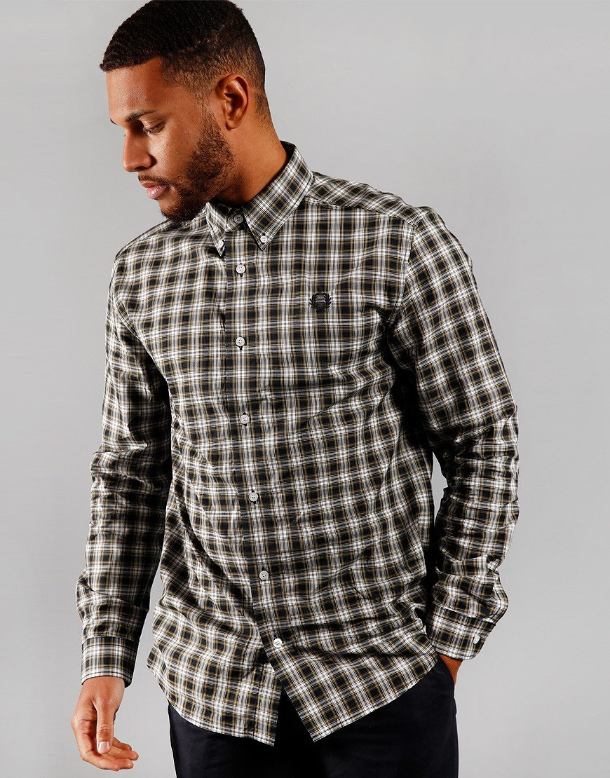 Fred Perry Small Check Long Sleeve Shirt Navy