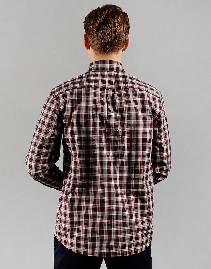 Fred Perry Small Check Long Sleeve Shirt Red