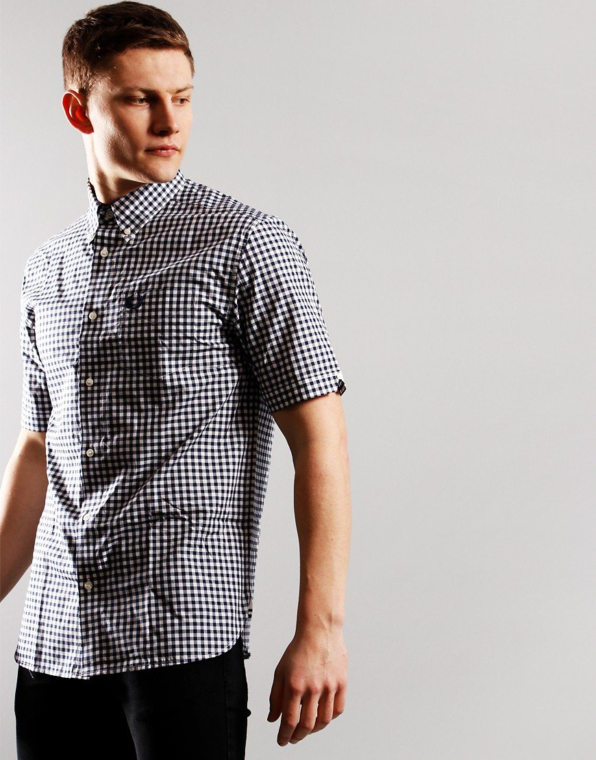 Fred Perry Short Sleeve Gingham Shirt Carbon Blue