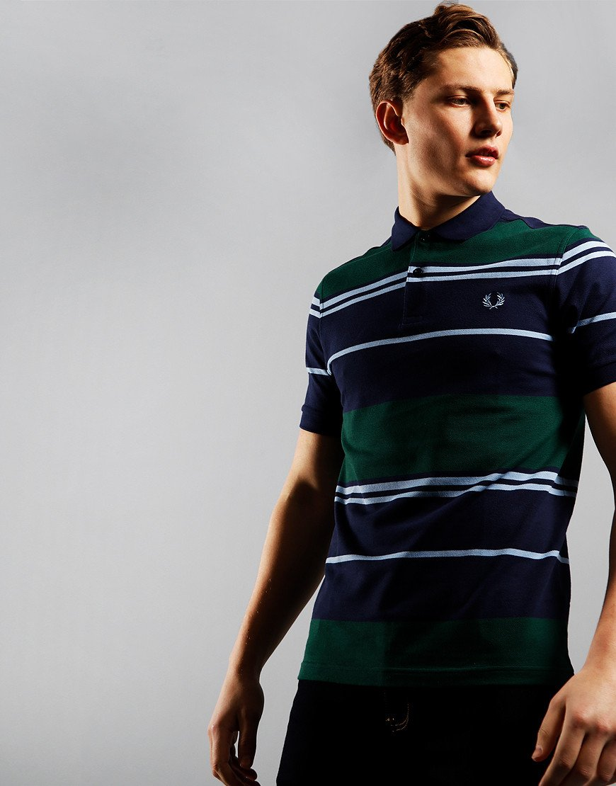 Fred Perry Stripe Polo Shirt Carbon Blue