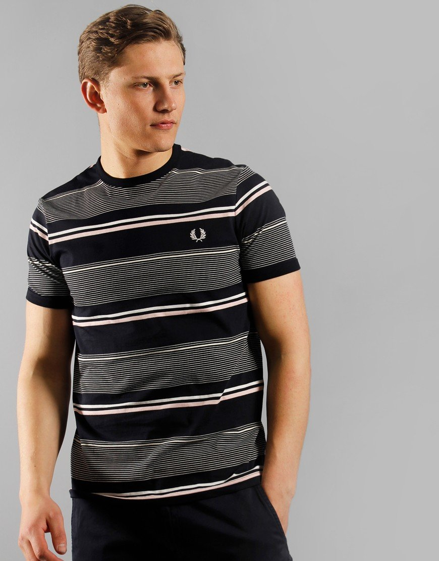 Fred Perry Stripe T-Shirt Navy