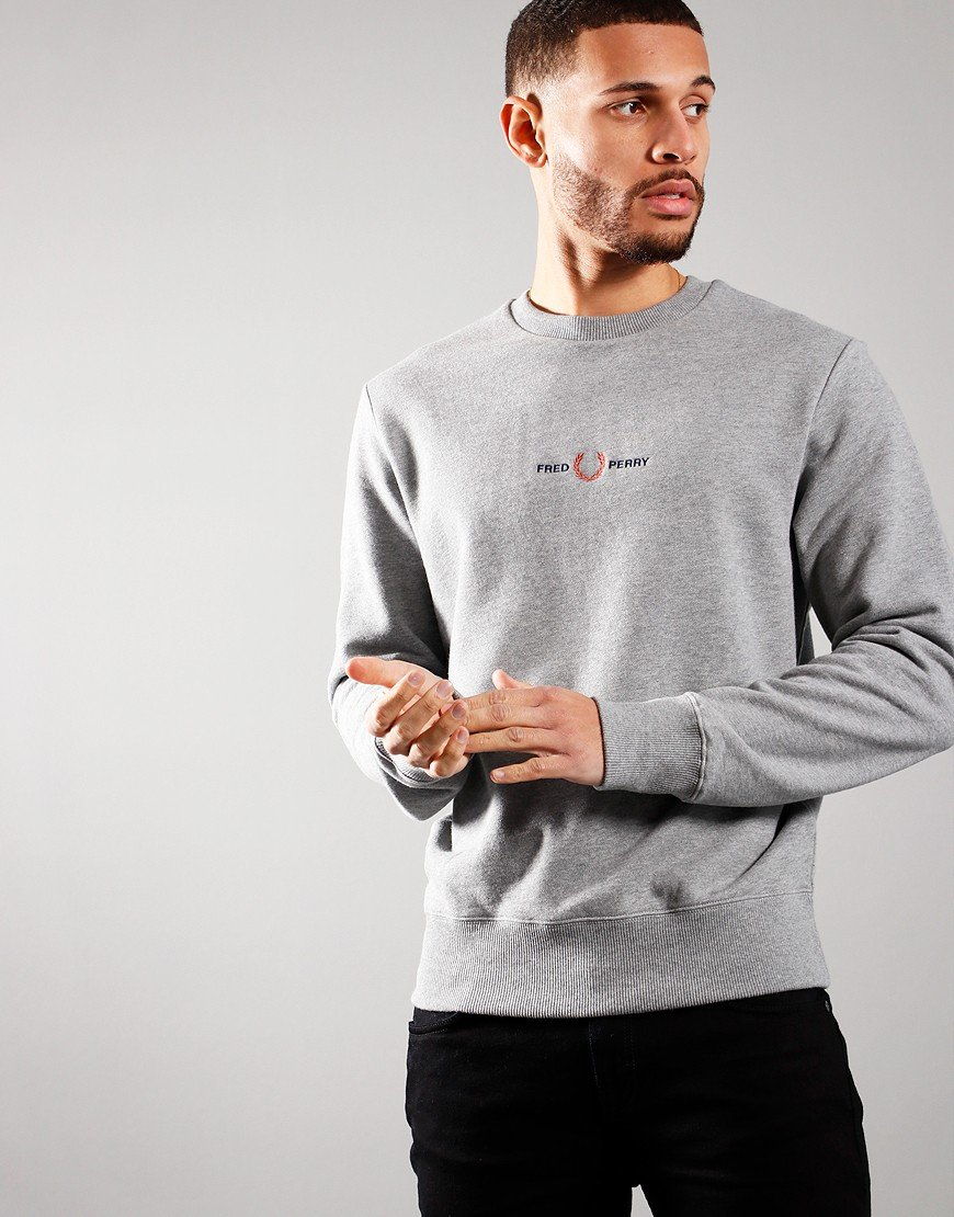 Fred Perry Embroidered Sweat Steel Marl