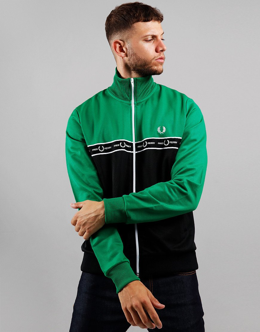 Fred Perry Taped Graphic Colour Block Track Top Electric Green