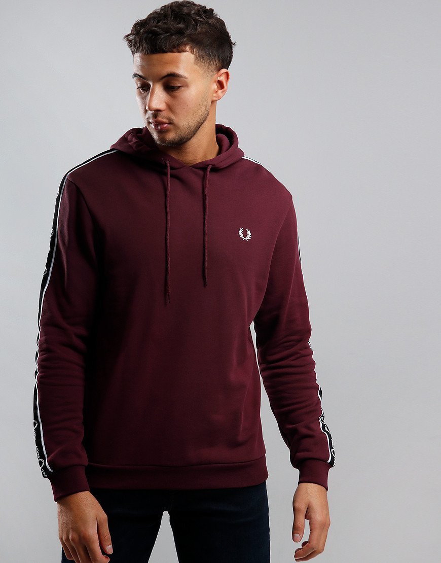 Fred Perry Taped Sleeve Hoodie Mahogany