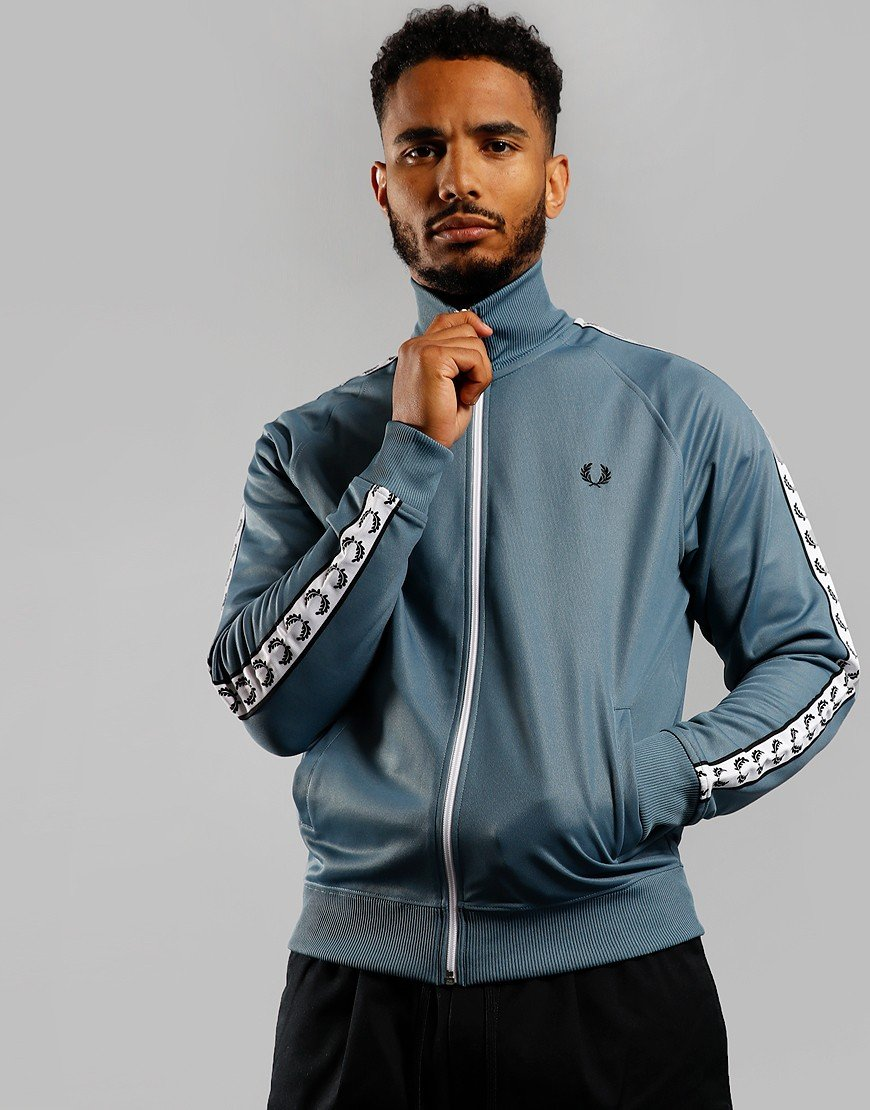 Fred Perry Taped Track Jacket Blue Slate