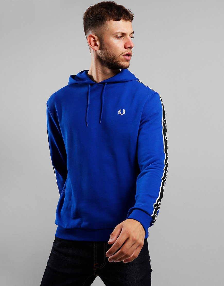 Fred Perry Taped Sleeve Hoodie Bright Regal