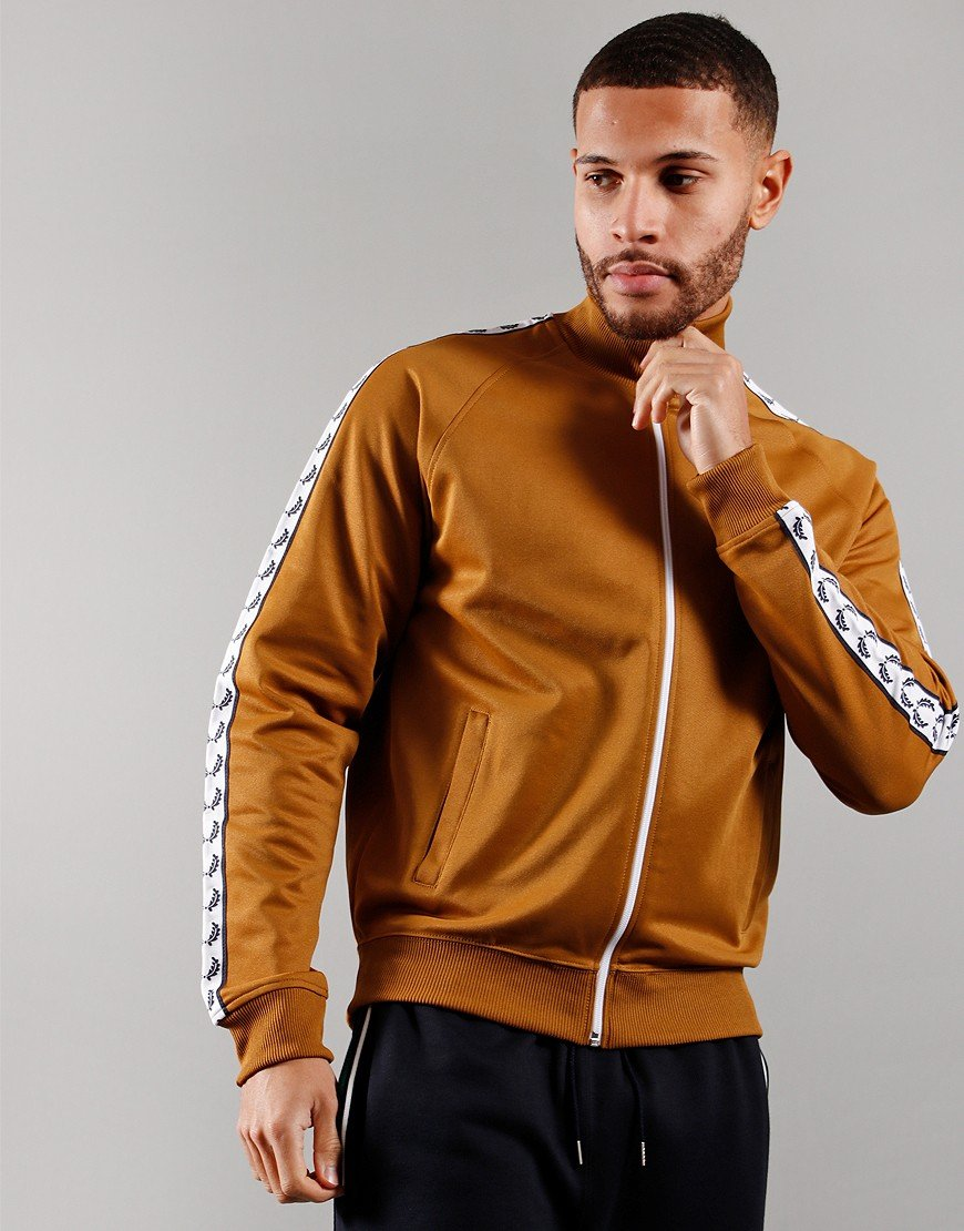 Fred Perry Laurel Wreath Tape Track Jacket Dark Caramel
