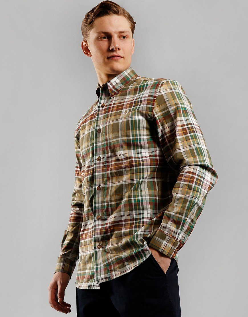 Fred Perry Tartan Long Sleeve Shirt Military Green
