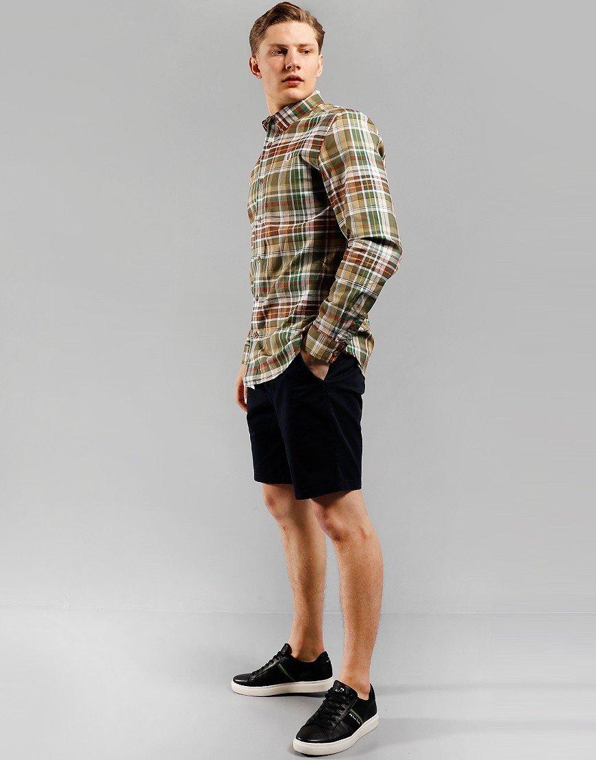 Fred Perry Tartan Long Sleeve Shirt Military Green