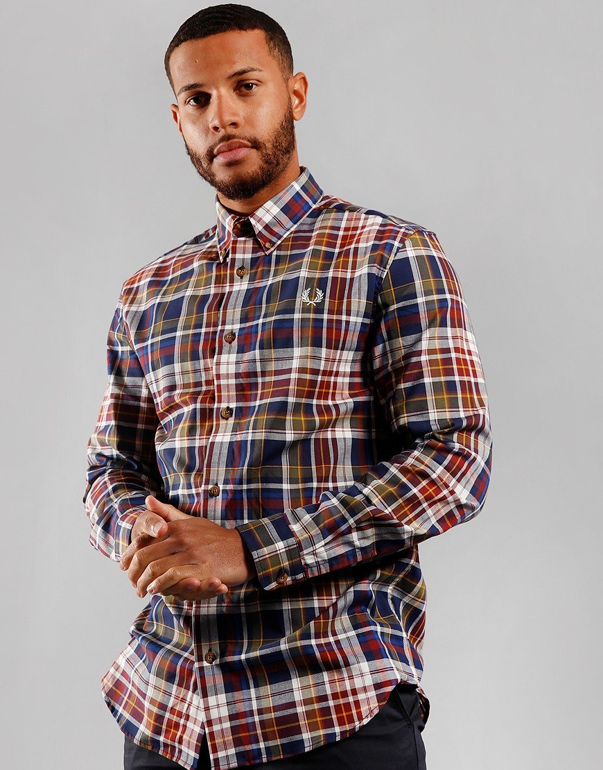 Fred Perry Tartan Long Sleeve Shirt Navy