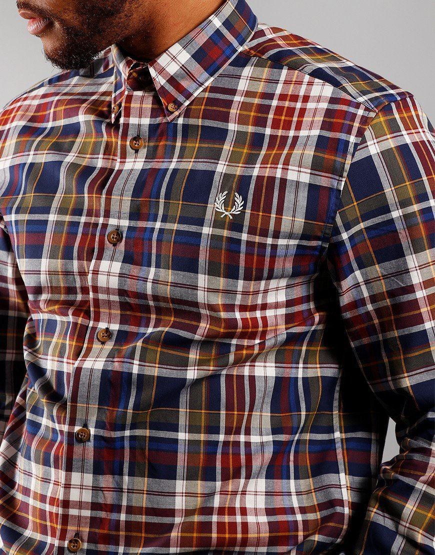Fred Perry Tartan Long Sleeve Shirt Navy